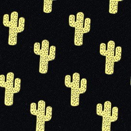 Jersey fabric Molletoné Cactus - black/yellow x 10cm