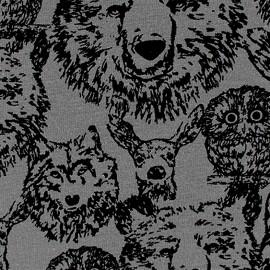 Tissu jogging Poppy Forest Animals - gris x 10cm