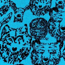 Tissu jogging Poppy Forest Animals - bleu x 10cm