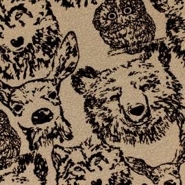 Tissu jogging Poppy Forest Animals - marron x 10cm