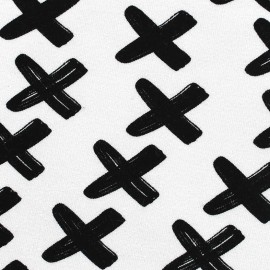 Poppy jersey fabric Criss Cross - noir x 10cm