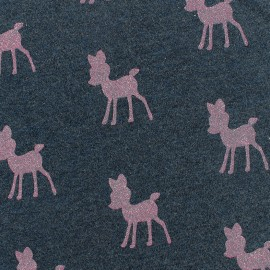 Poppy Sweat fabric Bambi Glitter - slate/pink x 10cm