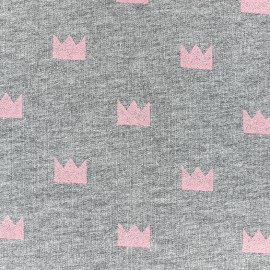 Poppy jersey fabric Crown Glitter - pink x 10cm