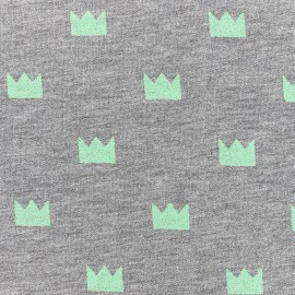 Tissu jogging Courronne Glitter - vert x 10cm