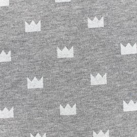 Poppy jersey fabric Crown Glitter - white x 10cm
