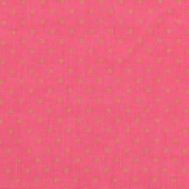 Tissu crépon à pois France Duval - pivoine x 10cm