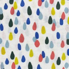 Tissu double gaze de coton Water drop - ecru x 10 cm