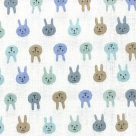 Tissu double gaze de coton lapinou - multi bleu x 10 cm