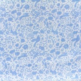 Tissu double gaze de coton Shadow Garden - blue x 10 cm
