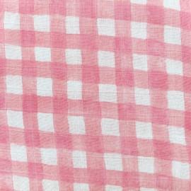Tissu double gaze de coton Mini garden gingham - blossom x 10 cm