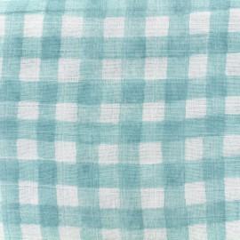 Tissu double gaze de coton Mini painted gingham - mist x 10 cm