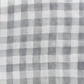 Tissu double gaze de coton Mini painted gingham - gray x 10 cm