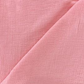 Tissu double gaze de coton Solid bubble gauze - coral x 10cm