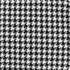 Tissu jacquard tissé petit Pied de poule - noir et blanc x 10cm