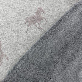 Tissu sweat envers minkee Cheval glitter - argent x 10cm