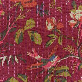 Tissu coton brodé Kantha Oiseau - fuchsia x 10cm
