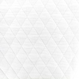 Tissu jersey matelassé losanges 30/50 -  blanc x 10cm