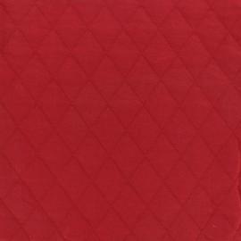 Tissu jersey matelassé losanges 30/50 - rouge x 10cm
