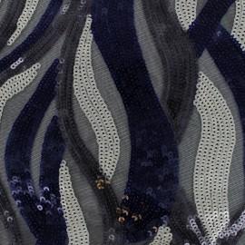 Tissu Paillettes sur tulle Lina - noir x 10cm