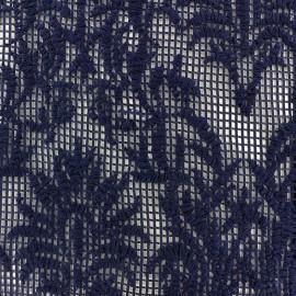 Tissu Résille dentelle brodée - marine x 10cm