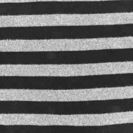 Tissu Maille légère rayée - noir/gris x 10cm