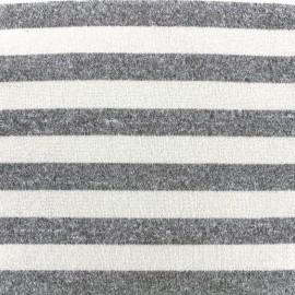 Tissu Maille légère rayée - ecru/gris x 10cm