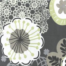 Tissu coton crétonne Bachra - anthracite x 31cm