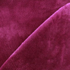 Tissu sweat envers minkee - framboise x 10cm