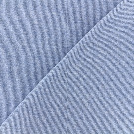 Mocked knitted Jersey 1/2 tubular edging fabric - blue x 10cm