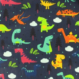 Cotton fabric Sweet Dino - night blue x 21cm
