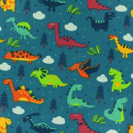 Cotton fabric Sweet Dino - teal x 21cm