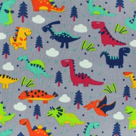 Cotton fabric Sweet Dino - grey x 21cm