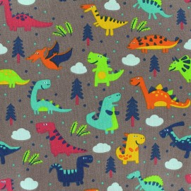 Cotton fabric Sweet Dino - brown x 21cm