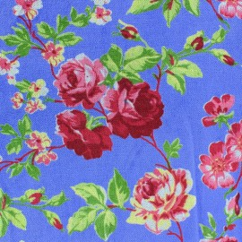 Tissu Velours ras fleuri Bleu ciel x10cm