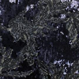 Tissu Paillettes sur tulle Adeline - marine x 10cm