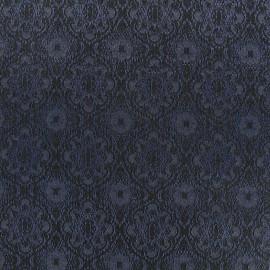 Tissu jacquard damassé Rococo - marine x 10cm