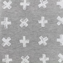 Sweat Fabric Cross - white/grey x 10cm