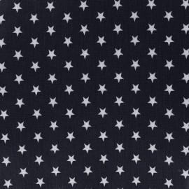 Tissu enduit coton Poppy Etoile - blanc/bleu nuit x 10cm