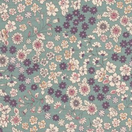 Coated cotton fabric Froufrou fleuri - eucalyptus x 10cm