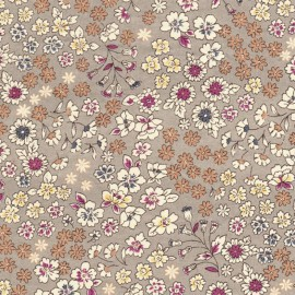 Coated cotton fabric Froufrou fleuri - taupe x 10cm