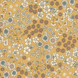 Coated cotton fabric Froufrou fleuri - gold dust x 10cm