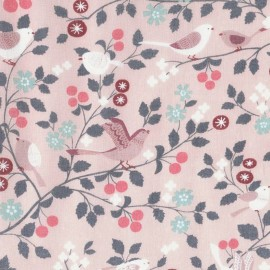 Coated cotton fabric Froufrou oiseau - mandarine x 10cm