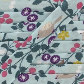 Cotton bias Froufrou oiseau 20 mm - celadon x 1m