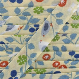 Cotton bias Froufrou oiseau 20 mm - pearly ivory x 1m
