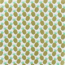 Cotton fabric Pinacola - mint/coral x 10cm
