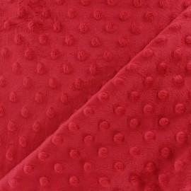 Tissu Velours minkee doux relief à pois - coquelicot x 10cm