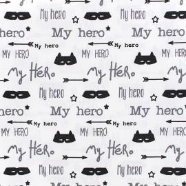 Tissu coton My Hero - blanc x 10cm