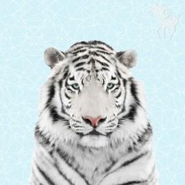 Cotton fabric panel - white tiger 70 cm x 140 cm