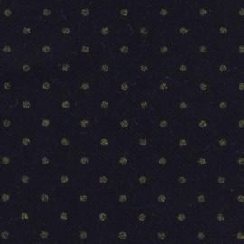 Tissu lainage France Duval - bleu foncé pois or  x 10cm