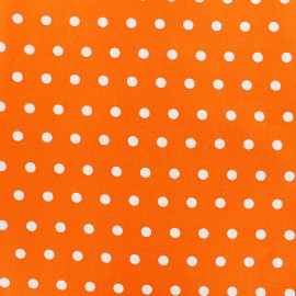 Small white dots Coated Cotton Fabric - mandarin x 10cm